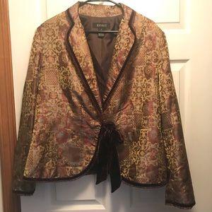 Lane Bryant Tapestry Tie Front Blazer Size 16